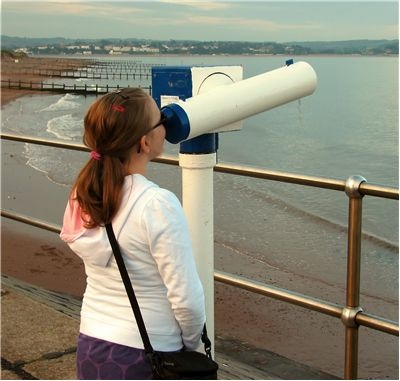 Picture Of Girl Looking Through Telescope